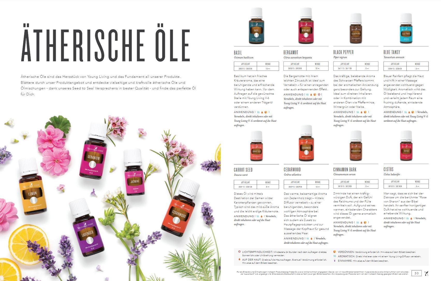Seite aus dem Produktkatalog 2019 von Young Living für Deutschland