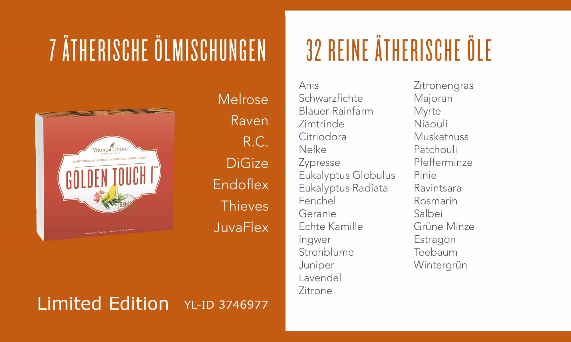 Liste der ätherischen Öle im Golden Touch Set 1 (Limited Edition)
