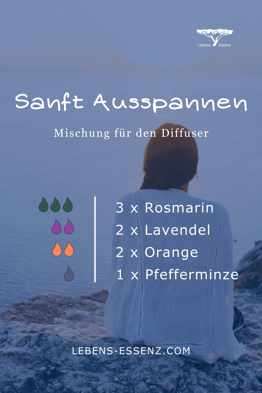 Sanft Ausspannen - Mischung für den Diffusor - mit den ätherischen Ölen Rosmarin, Lavendel, Orange, Pfefferminze