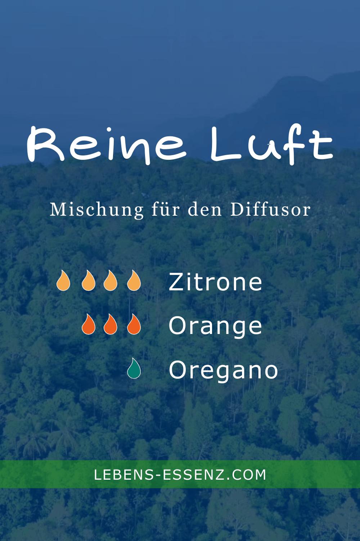 Reine Luft Diffusormischung mit den ätherischen Ölen Zitrone, Orange und Oregano